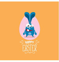 Happy easter greeting card with funny bunny vector