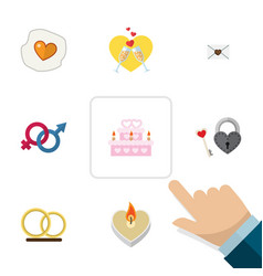 Flat icon love set of celebration ring letter vector