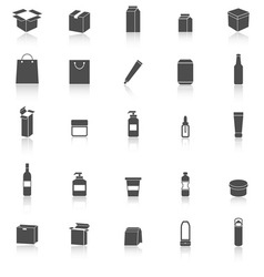 Packaging icons with reflect on white background vector