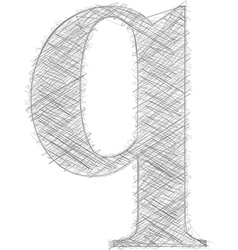 Freehand typography letter q vector
