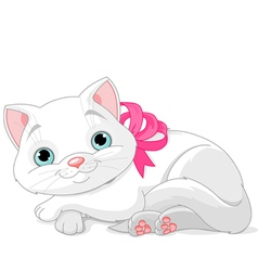 Cute white cat vector