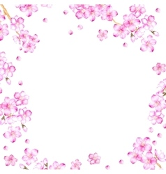 Frame of cherry blossom flowers vector
