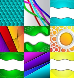 Set of nine different and colorful abstract vector
