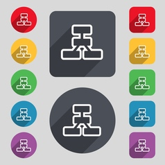 Network icon sign a set of 12 colored buttons and vector