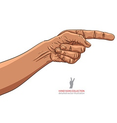 Finger pointing hand african ethnicity detailed vector