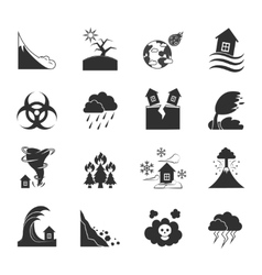 Natural disasters monochrome icons set vector