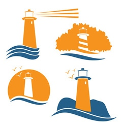 Set of with lighthouse vector