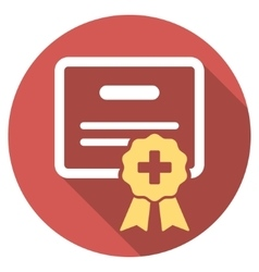 Medical certification flat round icon with long vector