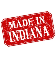 Made in indiana red square grunge stamp vector