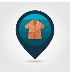 Hawaiian shirt palm tree pin map icon vacation vector