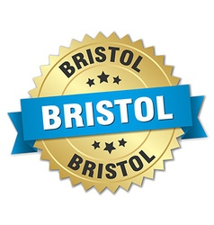 Bristol round golden badge with blue ribbon vector