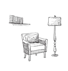 Reading place sketch chair and lamp vector