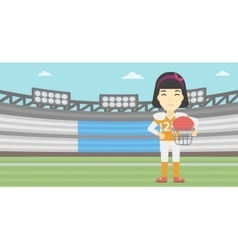 Rugby player with ball and helmet in hands vector