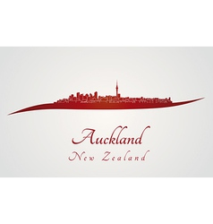Auckland skyline in red vector
