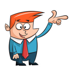 cartoon man points finger at something vector image