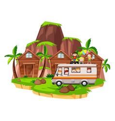 children riding on camper van vector image vector image