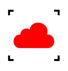 Cloud sign red icon inside vector