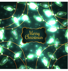 Colorful green glowing christmas lights vector