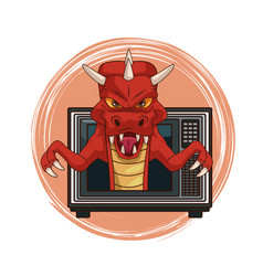 Dragon videogame character cartoon on tv vector