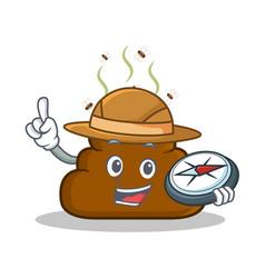 Explorer poop emoticon character cartoon vector