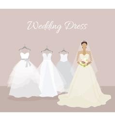 Fashionable bride choose wedding dress banner vector