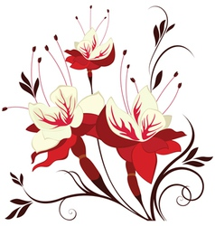 flower fuchsia decorative composition vector image vector image
