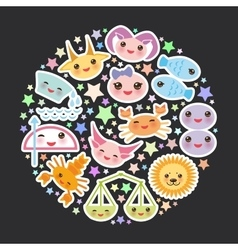 Funny kawaii zodiac sign astrological stiker set vector
