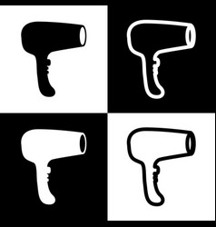 Hair dryer sign black and white icons and vector