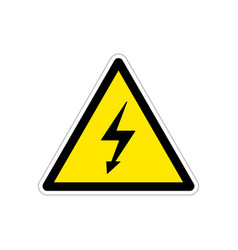 High voltage bright triangle yellow warning sign vector