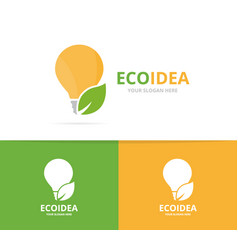 Lamp and leaf logo combination lightbulb vector