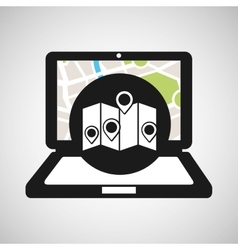 laptop map gps pointers vector image