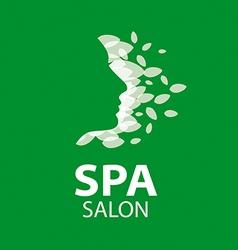 Logo feminine face of the leaves vector