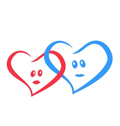 logo love hearts together red and blue vector image vector image
