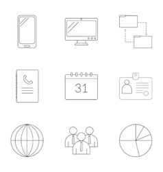 Management icons set outline style vector