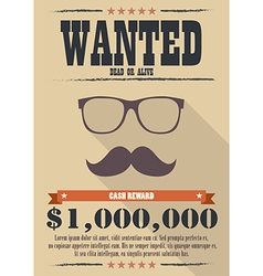 Most wanted man with mustache and glasses poster vector