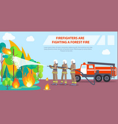 Poster of firefighters fighting forest fire vector
