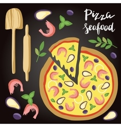 Seafood pizza with vector