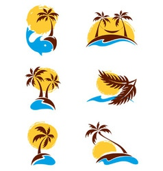 Set of logotypes - palm trees vector image vector image