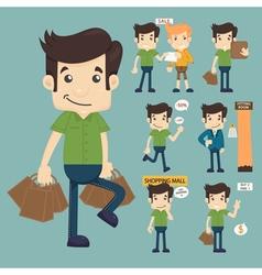 Set of man at market shopping store vector image
