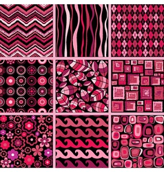 Set of stylish seamless patterns vector image