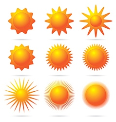 set of sun symbol vector image vector image