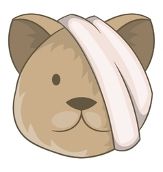 Sick cat with bandage on a head icon cartoon style vector