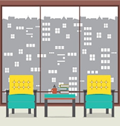 Sofas With Books In Front Of Wide Glass Window vector image