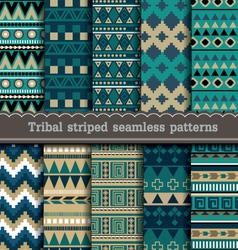 Tribal striped seamless patterns vector image vector image
