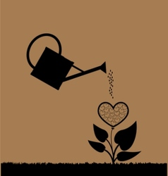 Water can watering plant vector