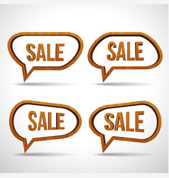 wooden sale sign speech bubble icon vector image vector image