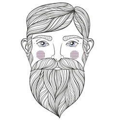 Zentangle portrait of bearder man with vector