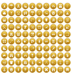 100 tackle icons set gold vector