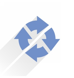 Flat blue arrow icon reload sign on white vector