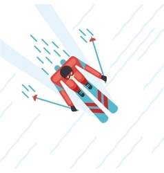 Mountain skier top view Flat style vector image